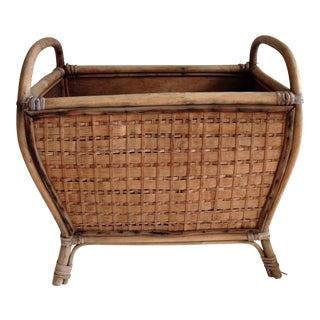 Vintage Wood Bamboo Magazine Vessel