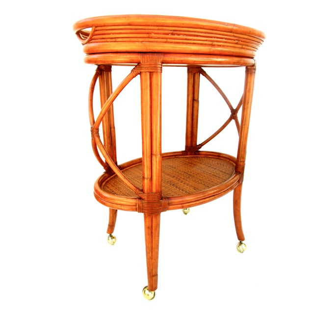 Vintage Ethan Allen Bamboo Rattan Bar Cart - Image 3 of 8