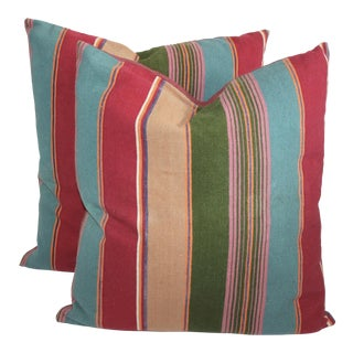 Colorful Striped Linen Pillows - A Pair