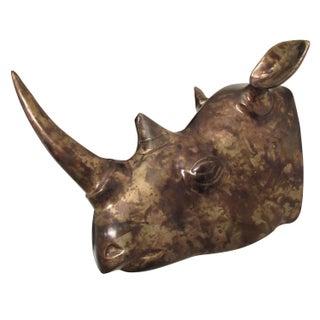 Cast Brass Rhino Head with Handpainted Patina