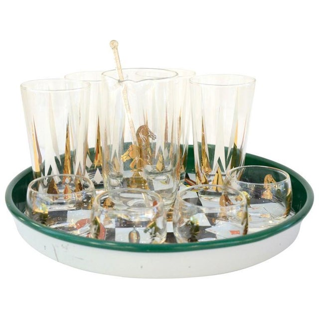 17 Piece Vintage Mid-Century Modern Chess Themed Bar Set - Image 5 of 5