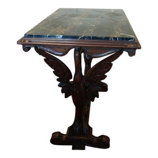 Marble Top Wood Carved End Table
