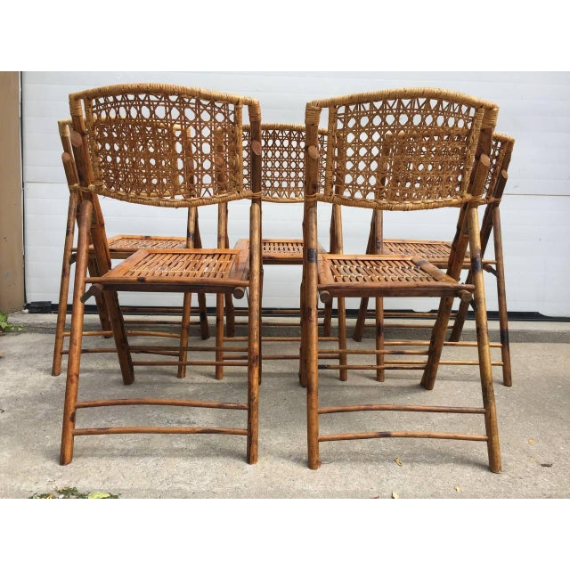Scorched Bamboo Frame Folding Chairs - Set of Five - Image 9 of 9