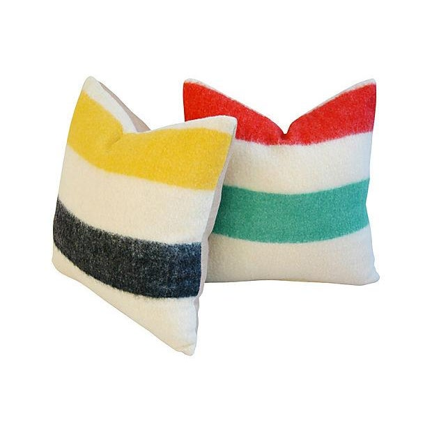 Image of Authentic Hudson's Bay Blanket Pillows - A Pair
