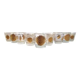 Mid-Century 22k Lowball Glasses - Set of 9