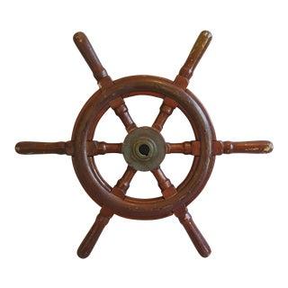 1950s Nautical Wood & Brass Ship's Wheel