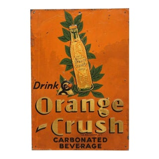 "1920's Embossed Tin Sign "" Orange Crush """