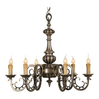 An interesting nickel finish chandelier having six lights from France c. 1950.