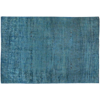 Silky Wool Overdyed Turquoise Rug - 12′ × 17′3″