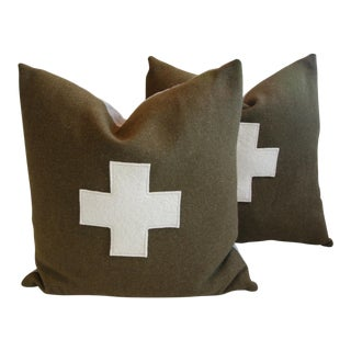 Custom Green Swiss Appliqué Cross Wool Pillows - A Pair