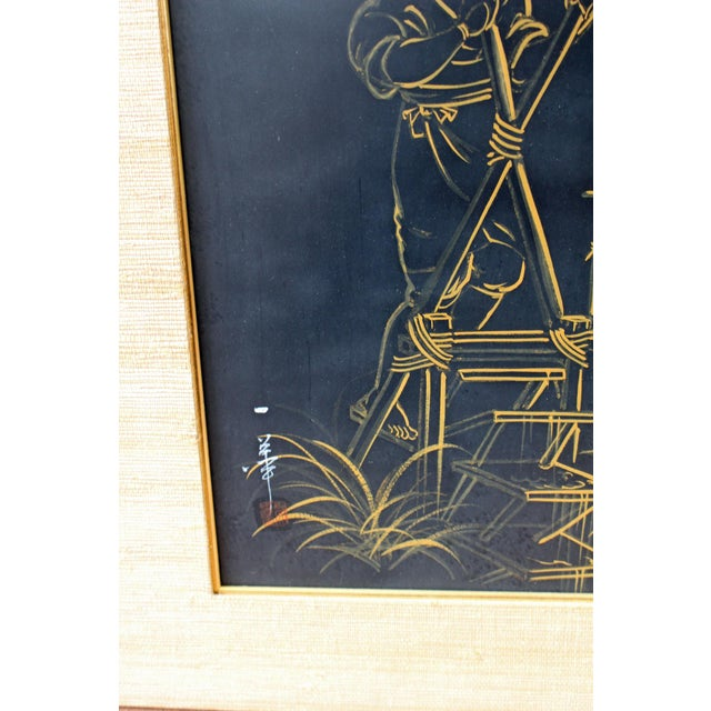 1960s Japanese Brush Paintings - A Pair - Image 4 of 6