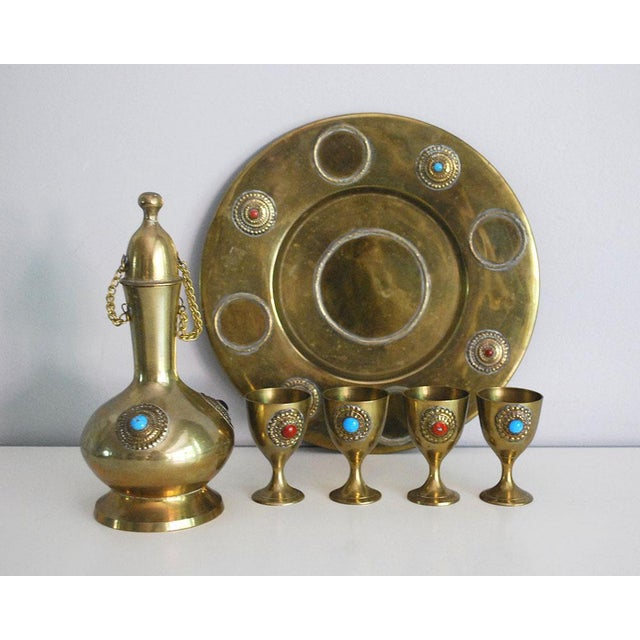 Middle Eastern Brass Drink Set - Set of 6 - Image 2 of 6