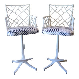 Phyllis Morris StyleMid-Century Faux Bamboo Bar Stools - A Pair