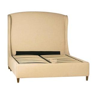 Off-White Linen Bed Frame