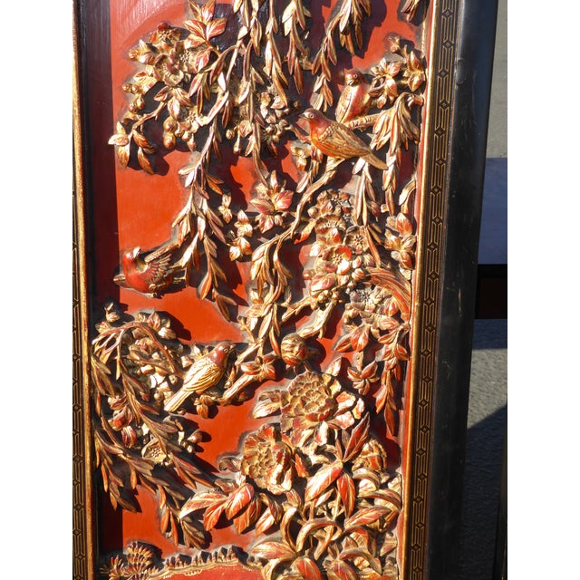 Vintage Asian Red & Gold Gilt Floral Carved Wall Panels- A Pair - Image 7 of 11