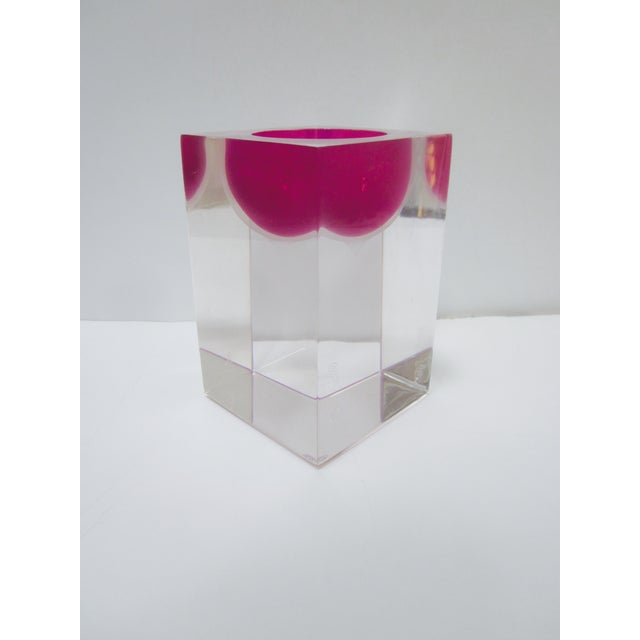 Thick Block Lucite Candle Holder, Signed - Image 3 of 8