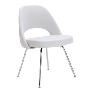 Saarinen Executive Armless Chair in Dove Luxe Suede