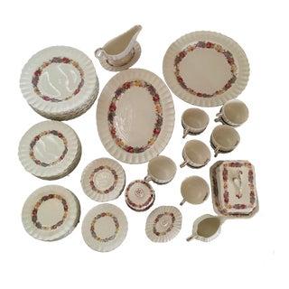 Antique Copeland Spode Rose Briar China Dining Set - 78 Pieces