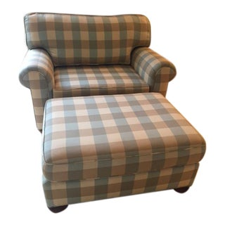 2 Pc Set Robins Egg Blue/ Caramel Buffalo Check Chair and Ottoman-Simply Breathtaking!