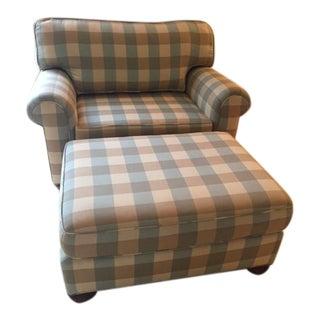 Vanguard Robins Egg Blue/ Caramel Buffalo Check Chair and Ottoman-Beach House Perfect!