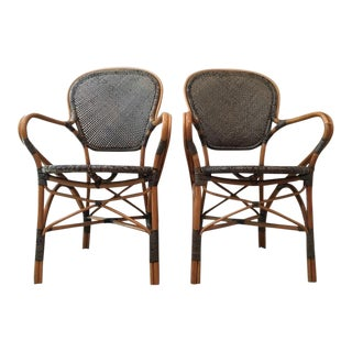 Vintage Wicker & Woven Rattan Armchairs - A Pair