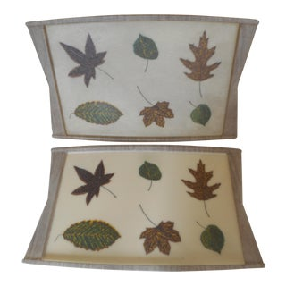 Mid-Century Serving Tray Botanical Fiberglass - A Pair