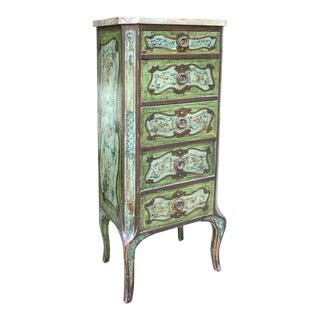 Continental Diminutive Painted Marble-top Chest