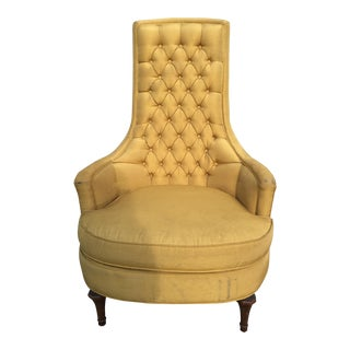 Hollywood Regency Button Tufted High Back Chair