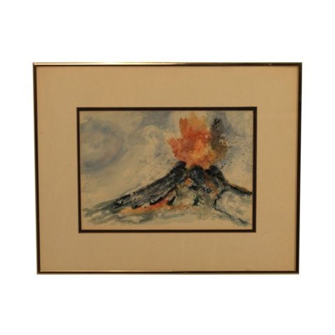 "Mixed Media Artwork - ""Erupting Volcano"" - Image 1 of 6"