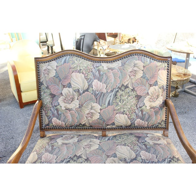 Solid Walnut Louis XIII Style Os De Mouton 2 Armchairs 1 settees Circa 1900s - Set of 3 - Image 6 of 11