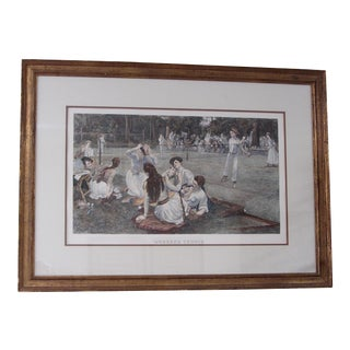"""Lawn Tennis"" Vintage Hand Colored Engraving"