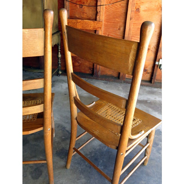 Image of Caned Seat Antique Chairs - A Pair