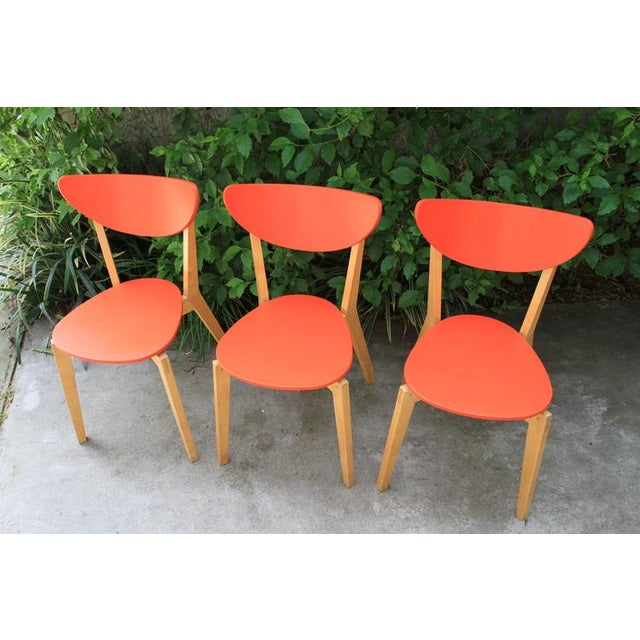 Mid Century Tangerine Chairs - Set of 3 - Image 4 of 8