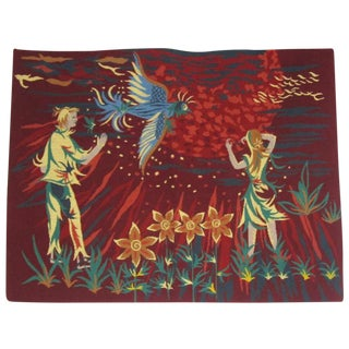 French 1950s Mid-Century Modern Bucolic Needlepoint Tapestry