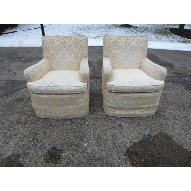 Vintage Cream Club Chairs - A Pair - Image 2 of 9