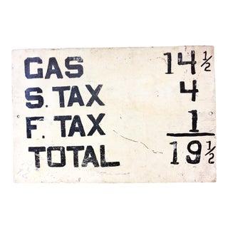 Vintage Hand Painted Metal Gas Price Sign