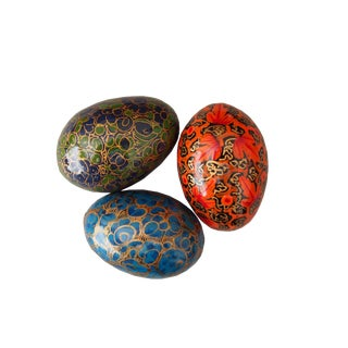 Decorative Lacquered Wooden Eggs - Set of 3