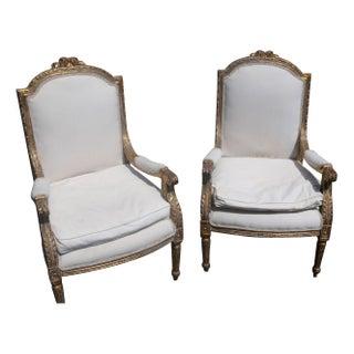 Louis 14th Baroque Gilt Armchairs - A Pair