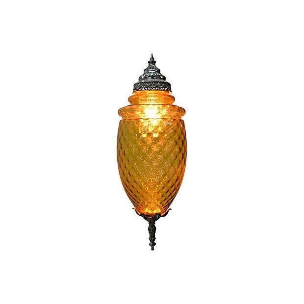 Amber Glass Pendant Lamp - Image 3 of 7