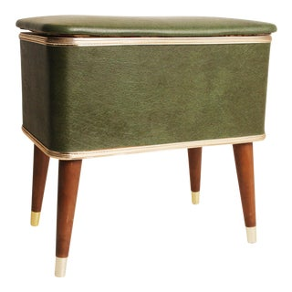 Mid-Century Green Vinyl Sewing Box