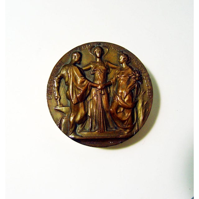 Art Nouveau Bronze Medallion, 1897 - Image 2 of 4