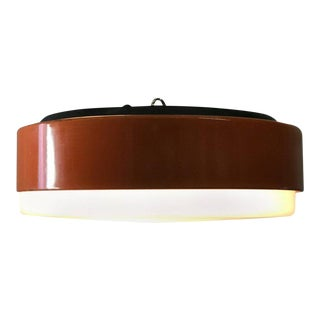 French Midcentury Orange Flush Mount Light Fixture