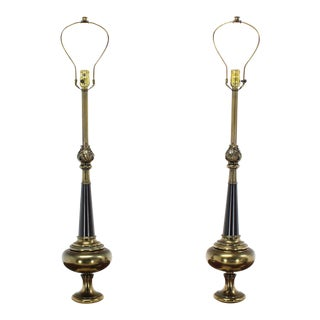 Pair of Stiffel Modern Table Lamps on Marble Bases