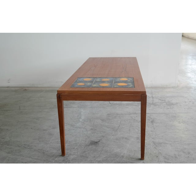 Image of Mid Century Danish Coffee Table Teak W/ Tile Top