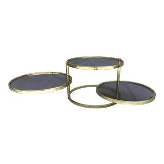 Milo Baughman Style Hollywood Regency Mid-Century Brass & Smoked Glass Swivel 3 Tier Side Table