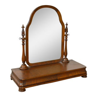 Antique Victorian Walnut 2 Drawer Shaving Mirror