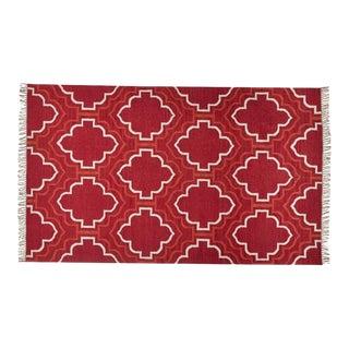 Borden Tile Recycled Yarn Indoor/Outdoor Red Rug - 5′ × 8′