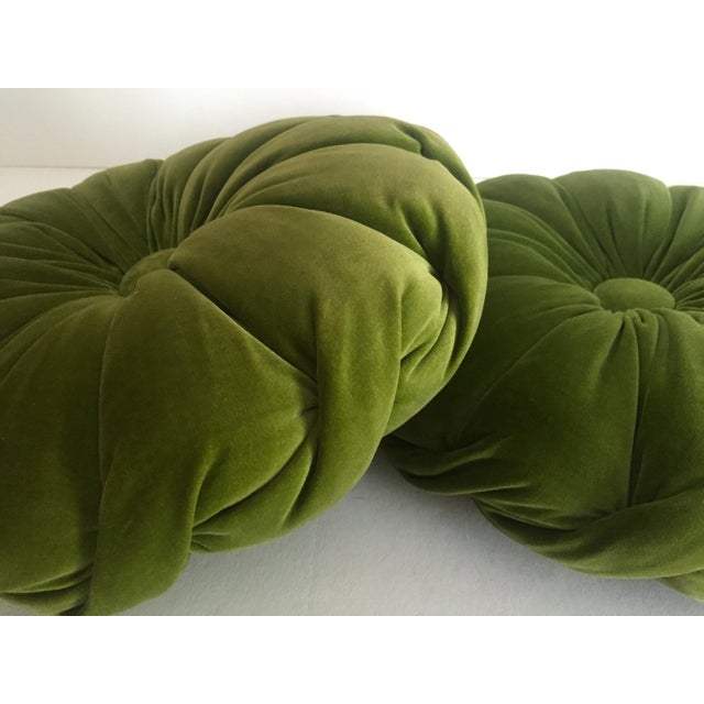 Mid Century Modern Round Pillow : Vintage Mid Century Modern Olive Green Velvet Tufted Round Tablet Pillows - a Pair Chairish