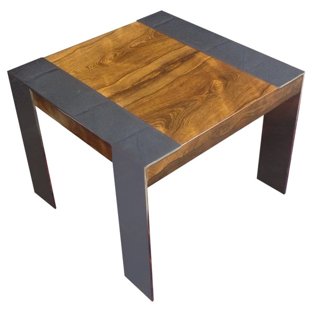 Milo Baughman Rosewood And Chrome Side Table - Image 1 of 6