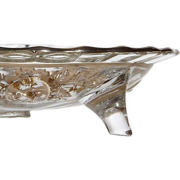 Glass Footed Silver Floral Bowl - Image 3 of 3